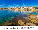 spain balearic islands majorca  ... | Shutterstock . vector #587750690