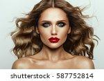 beautiful face of a fashion... | Shutterstock . vector #587752814