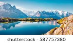 Stock photo colorful summer panorama of the lac blanc lake with mont blanc monte bianco on background 587757380