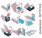 isometric icons of mobile...   Shutterstock .eps vector #587757410