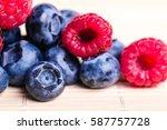 fresh sweet blueberry ... | Shutterstock . vector #587757728