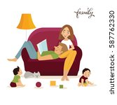 happy family on sofa. flat... | Shutterstock .eps vector #587762330