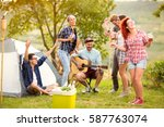 cheerful girls and boys dance... | Shutterstock . vector #587763074
