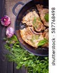 roasted beef steak with...   Shutterstock . vector #587768498