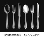 set of fork  spoon and knife.... | Shutterstock .eps vector #587772344