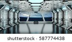 spaceship white and blue... | Shutterstock . vector #587774438
