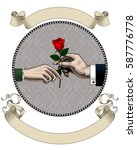 hand of man give a red rose to... | Shutterstock .eps vector #587776778