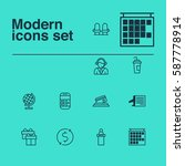 set of 12 travel icons.... | Shutterstock . vector #587778914