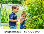 young brother and sister... | Shutterstock . vector #587779490