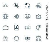 set of 16 business management... | Shutterstock . vector #587782964
