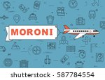 """airplane with banner """"moroni""""...   Shutterstock .eps vector #587784554"""