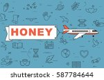 """airplane with banner """"honey"""" on ...   Shutterstock .eps vector #587784644"""