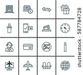 set of 16 transportation icons. ... | Shutterstock . vector #587784728