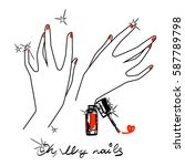 hands and red nails. nail... | Shutterstock .eps vector #587789798