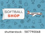 """airplane with banner """"softball...   Shutterstock .eps vector #587790068"""