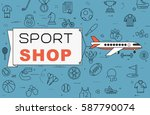 """airplane with banner """"sport...   Shutterstock .eps vector #587790074"""