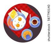 breakfast time. vector flat...   Shutterstock .eps vector #587790140