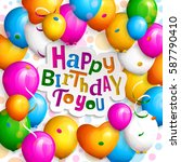 happy birthday greeting card.... | Shutterstock .eps vector #587790410