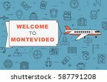 """airplane with banner """"welcome...   Shutterstock .eps vector #587791208"""