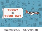 """airplane with banner """"today is...   Shutterstock .eps vector #587792348"""