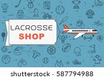 """airplane with banner """"lacrosse...   Shutterstock .eps vector #587794988"""