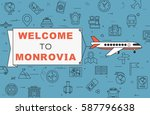 """airplane with banner """"welcome...   Shutterstock .eps vector #587796638"""