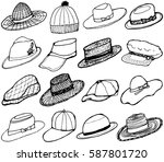 hats collection set. hand drawn ... | Shutterstock .eps vector #587801720