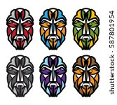 african colorful masks set...   Shutterstock .eps vector #587801954