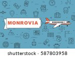 """airplane with banner """"monrovia"""" ...   Shutterstock .eps vector #587803958"""