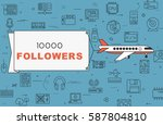 """airplane with banner """"10000...   Shutterstock .eps vector #587804810"""