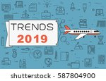 """airplane with banner """"trends...   Shutterstock .eps vector #587804900"""