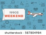 """airplane with banner """"1990s...   Shutterstock .eps vector #587804984"""