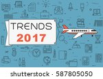 """airplane with banner """"trends...   Shutterstock .eps vector #587805050"""