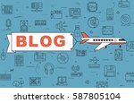 """airplane with banner """"blog"""" on...   Shutterstock .eps vector #587805104"""