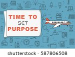 """airplane with banner """"time to...   Shutterstock .eps vector #587806508"""