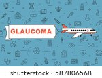 """airplane with banner """"glaucoma"""" ...   Shutterstock .eps vector #587806568"""