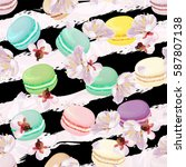 realistic macaroons colorful... | Shutterstock .eps vector #587807138