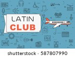 """airplane with banner """"latin...   Shutterstock .eps vector #587807990"""