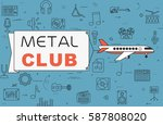 """airplane with banner """"metal...   Shutterstock .eps vector #587808020"""