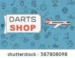 """airplane with banner """"darts...   Shutterstock .eps vector #587808098"""