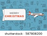 """airplane with banner """"merry...   Shutterstock .eps vector #587808200"""