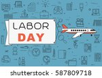 """airplane with banner """"labor day""""...   Shutterstock .eps vector #587809718"""
