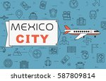 """airplane with banner """"mexico...   Shutterstock .eps vector #587809814"""