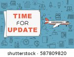 """airplane with banner """"time for...   Shutterstock .eps vector #587809820"""
