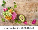 vegan  detox buddha bowl recipe ... | Shutterstock . vector #587810744