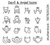 devil   angel icon set in thin... | Shutterstock .eps vector #587820134