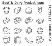 beef   dairy products icon set... | Shutterstock .eps vector #587821763