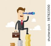 businessman stands on a... | Shutterstock .eps vector #587823500