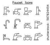 Faucet Icon Set In Thin Line...