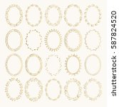 ornate oval borders. golden... | Shutterstock .eps vector #587824520